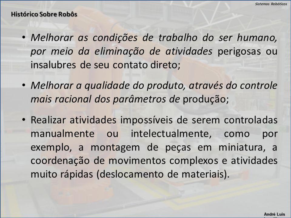 Sistemas Robóticos André Luis Lapolli Melhorar as condições de trabalho do ser humano, por meio da eliminação de atividades perigosas ou insalubres de