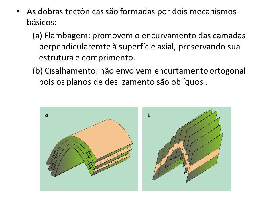 As dobras tectônicas são formadas por dois mecanismos básicos: (a) Flambagem: promovem o encurvamento das camadas perpendicularemte à superfície axial