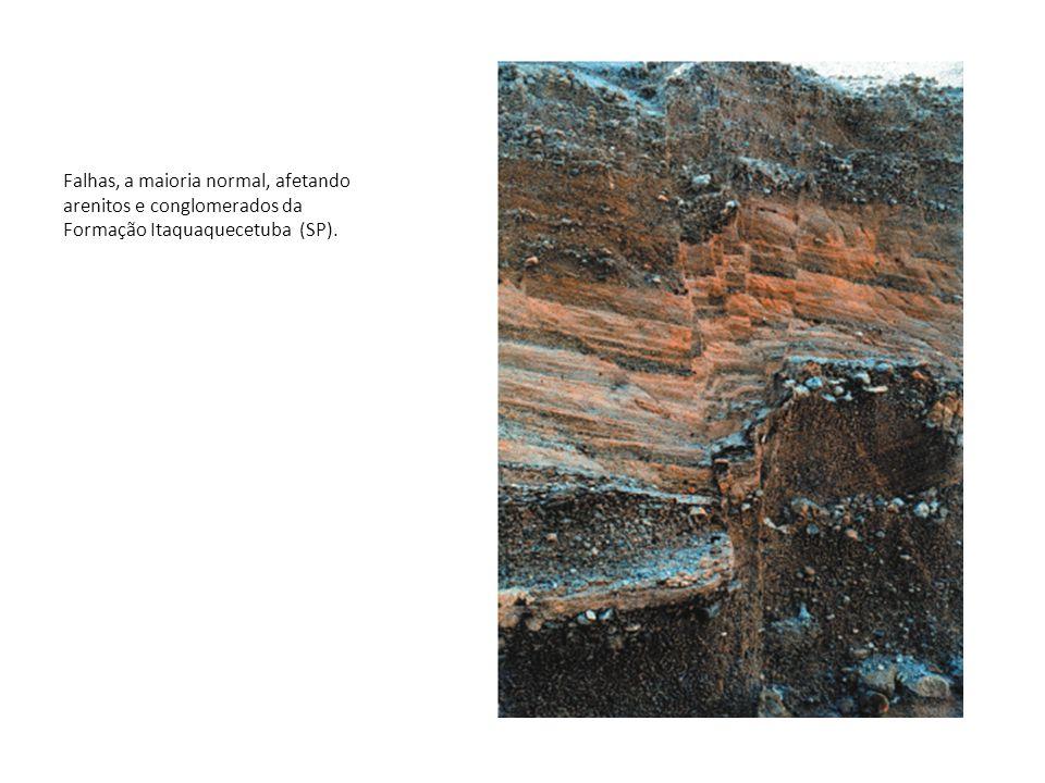 Falhas, a maioria normal, afetando arenitos e conglomerados da Formação Itaquaquecetuba (SP).