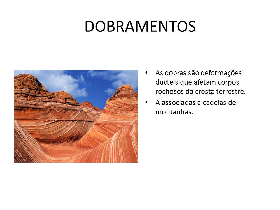 DOBRAMENTOS As dobras são deformações dúcteis que afetam corpos rochosos da crosta terrestre. A associadas a cadeias de montanhas.