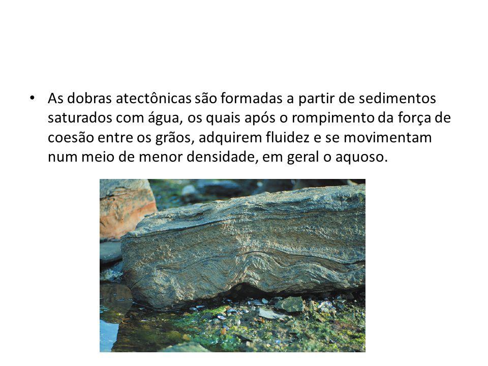 As dobras atectônicas são formadas a partir de sedimentos saturados com água, os quais após o rompimento da força de coesão entre os grãos, adquirem f