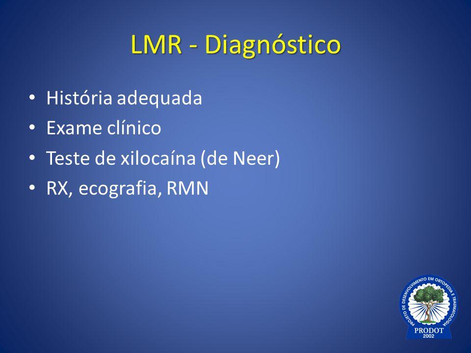 LMR - Diagnóstico História adequada Exame clínico Teste de xilocaína (de Neer) RX, ecografia, RMN