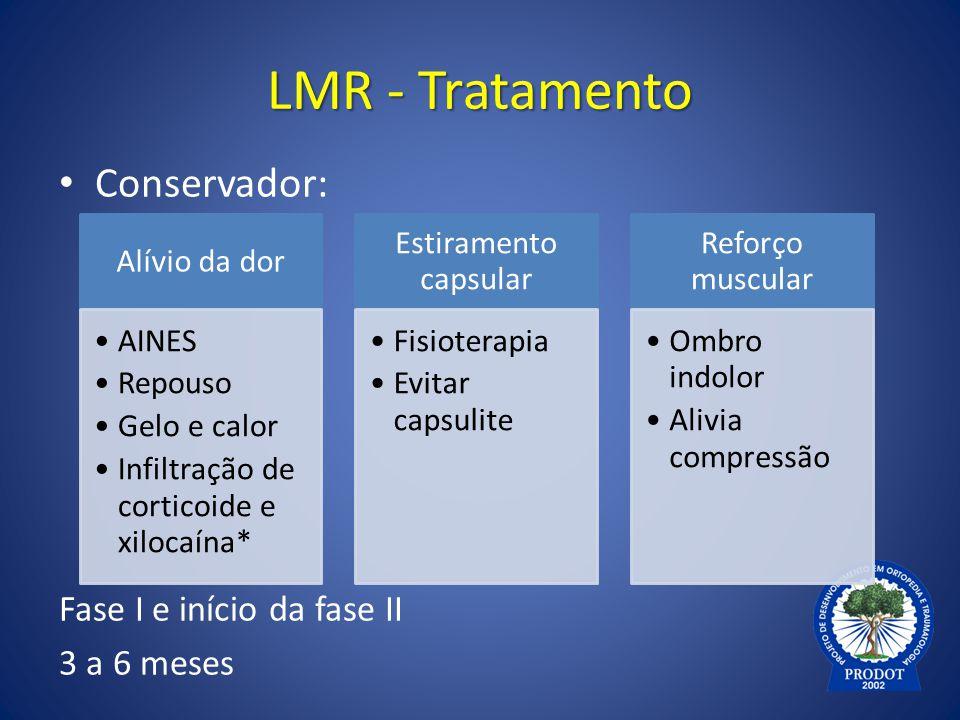LMR - Tratamento Conservador: Fase I e início da fase II 3 a 6 meses Alívio da dor AINES Repouso Gelo e calor Infiltração de corticoide e xilocaína* E