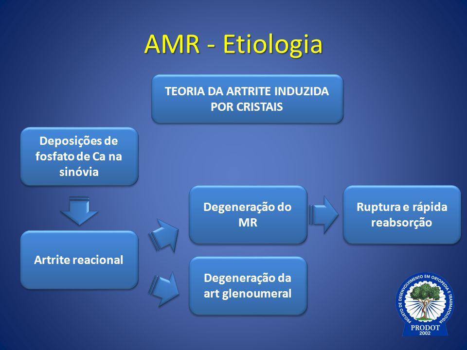 AMR - Etiologia TEORIA DA ARTRITE INDUZIDA POR CRISTAIS Degeneração do MR Degeneração da art glenoumeral Artrite reacional Deposições de fosfato de Ca
