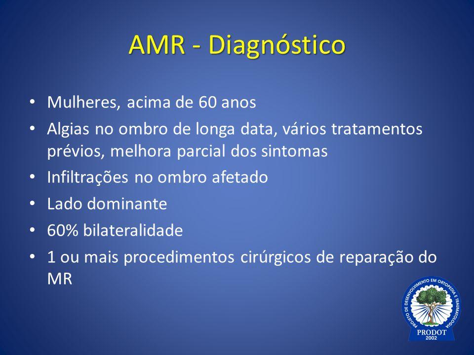 AMR - Diagnóstico Mulheres, acima de 60 anos Algias no ombro de longa data, vários tratamentos prévios, melhora parcial dos sintomas Infiltrações no o