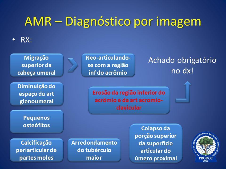 AMR – Diagnóstico por imagem RX: Neo-articulando- se com a região inf do acrômio Migração superior da cabeça umeral Diminuição do espaço da art glenou