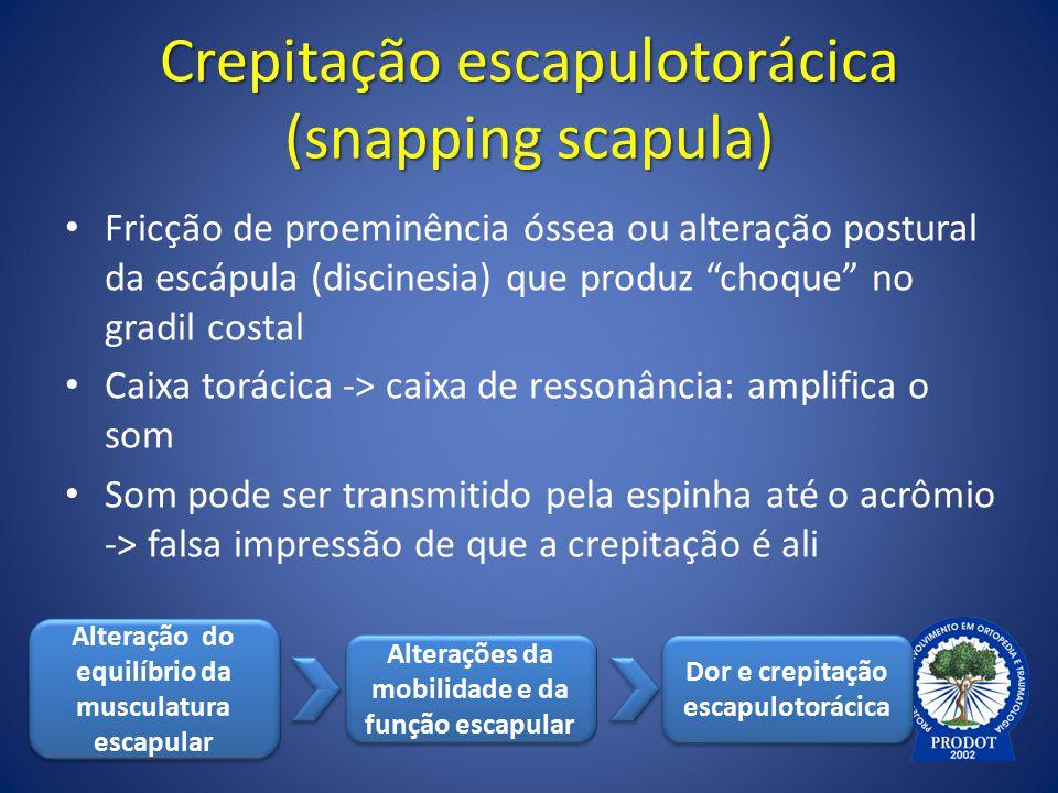"""Crepitação escapulotorácica (snapping scapula) Fricção de proeminência óssea ou alteração postural da escápula (discinesia) que produz """"choque"""" no gra"""