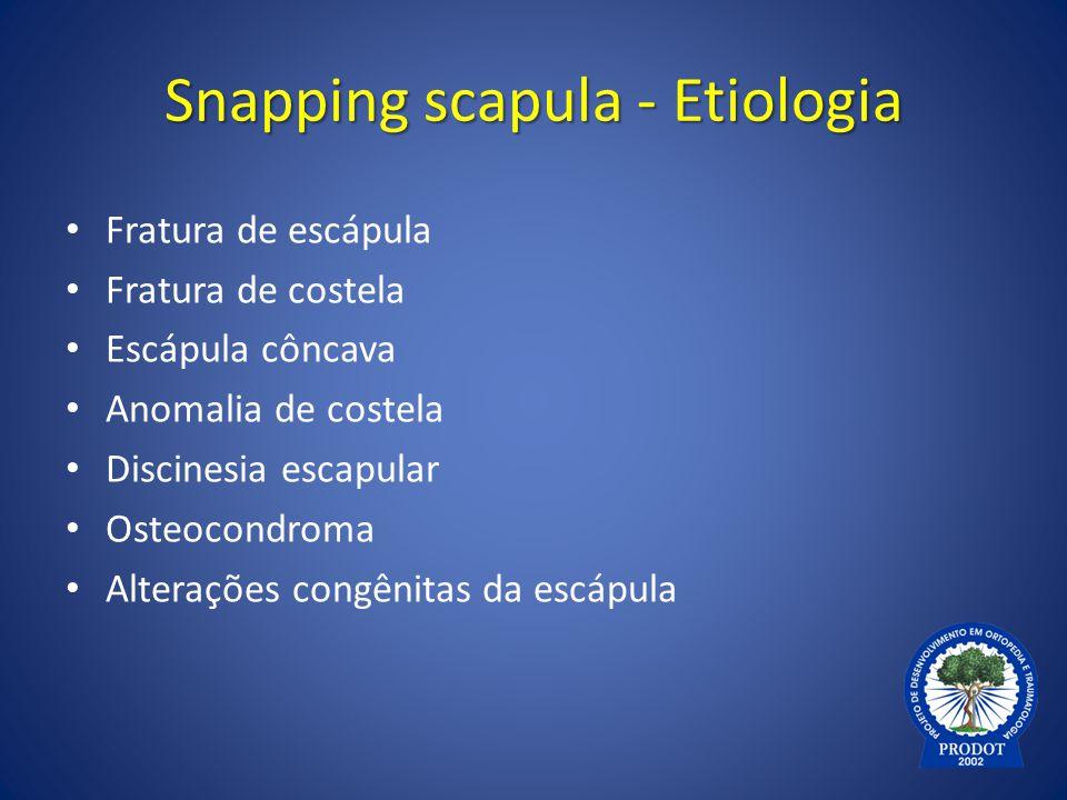 Snapping scapula - Etiologia Fratura de escápula Fratura de costela Escápula côncava Anomalia de costela Discinesia escapular Osteocondroma Alterações