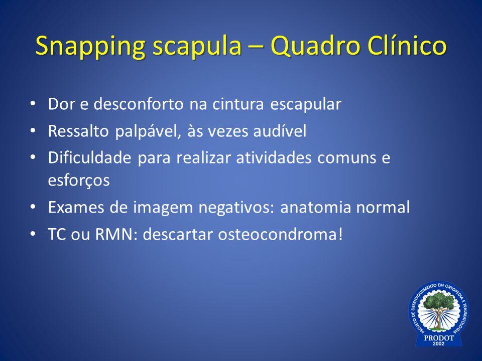 Snapping scapula – Quadro Clínico Dor e desconforto na cintura escapular Ressalto palpável, às vezes audível Dificuldade para realizar atividades comu