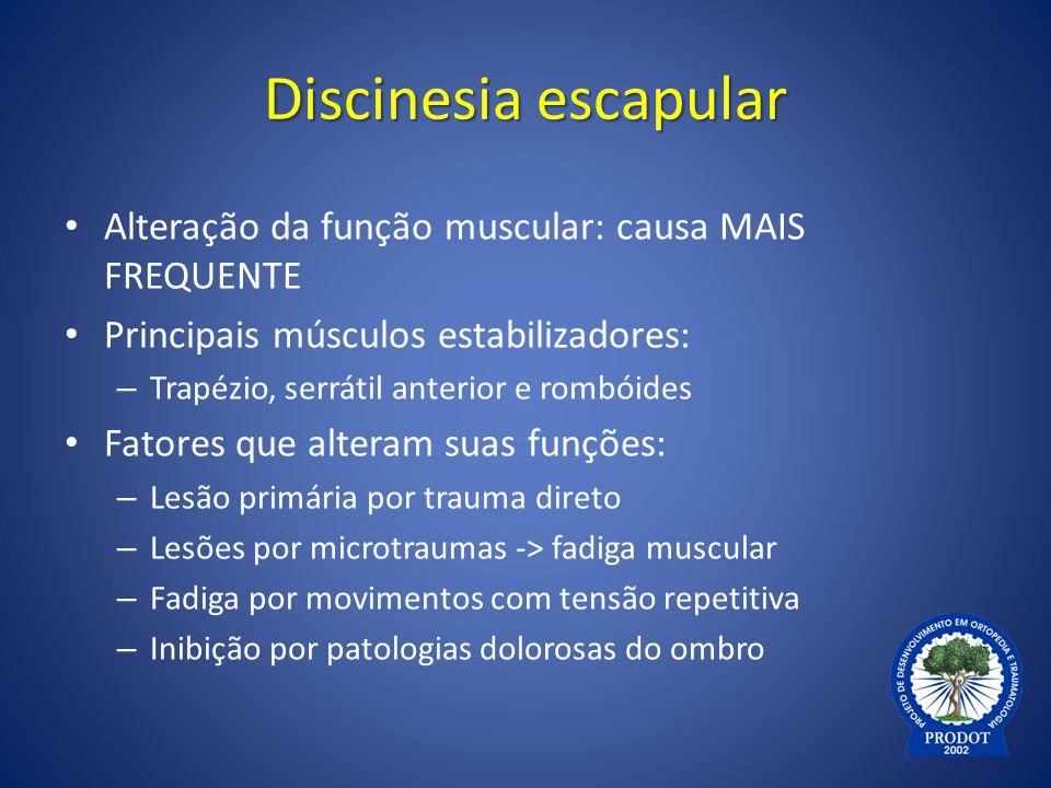 Discinesia escapular Alteração da função muscular: causa MAIS FREQUENTE Principais músculos estabilizadores: – Trapézio, serrátil anterior e rombóides