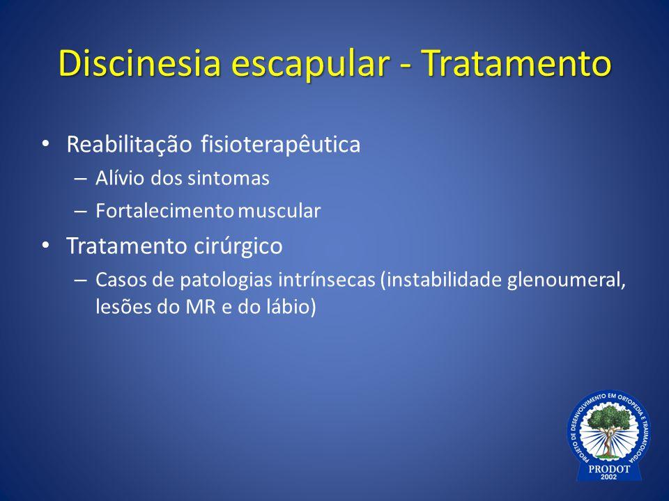 Discinesia escapular - Tratamento Reabilitação fisioterapêutica – Alívio dos sintomas – Fortalecimento muscular Tratamento cirúrgico – Casos de patolo