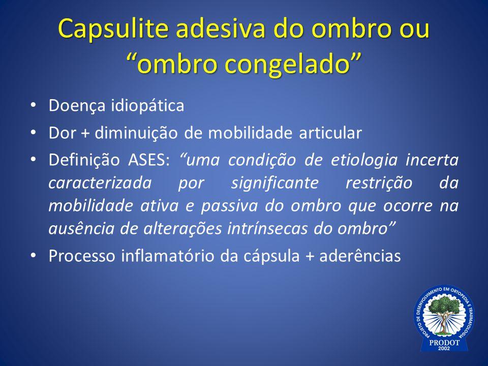 """Capsulite adesiva do ombro ou """"ombro congelado"""" Doença idiopática Dor + diminuição de mobilidade articular Definição ASES: """"uma condição de etiologia"""