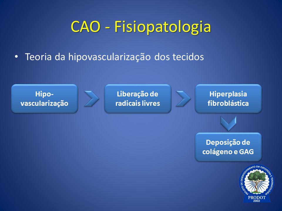 CAO - Fisiopatologia Teoria da hipovascularização dos tecidos Deposição de colágeno e GAG Hipo- vascularização Liberação de radicais livres Hiperplasi