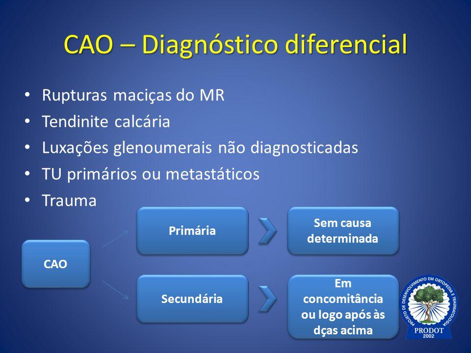 CAO – Diagnóstico diferencial Rupturas maciças do MR Tendinite calcária Luxações glenoumerais não diagnosticadas TU primários ou metastáticos Trauma E