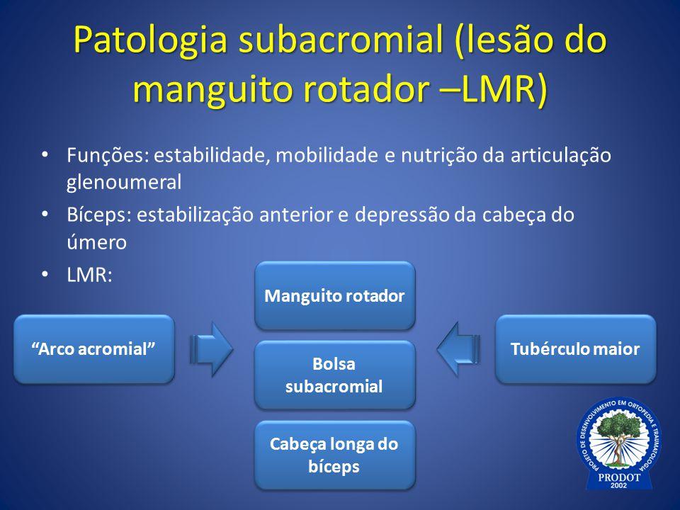 Patologia subacromial (lesão do manguito rotador –LMR) Funções: estabilidade, mobilidade e nutrição da articulação glenoumeral Bíceps: estabilização a