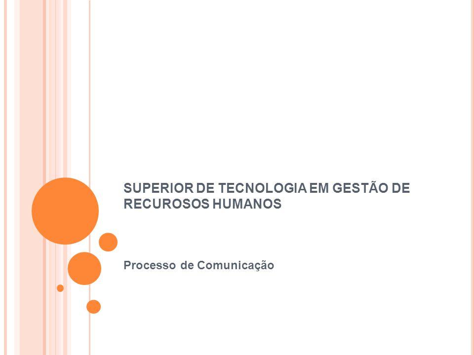 SUPERIOR DE TECNOLOGIA EM GESTÃO DE RECUROSOS HUMANOS Processo de Comunicação