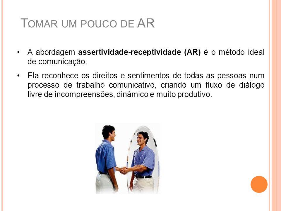 A abordagem assertividade-receptividade (AR) é o método ideal de comunicação. Ela reconhece os direitos e sentimentos de todas as pessoas num processo