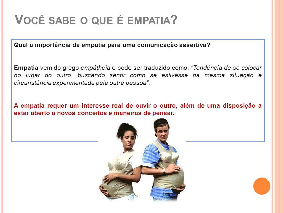 """V OCÊ SABE O QUE É EMPATIA ? Qual a importância da empatia para uma comunicação assertiva? Empatia vem do grego empátheia e pode ser traduzido como: """""""