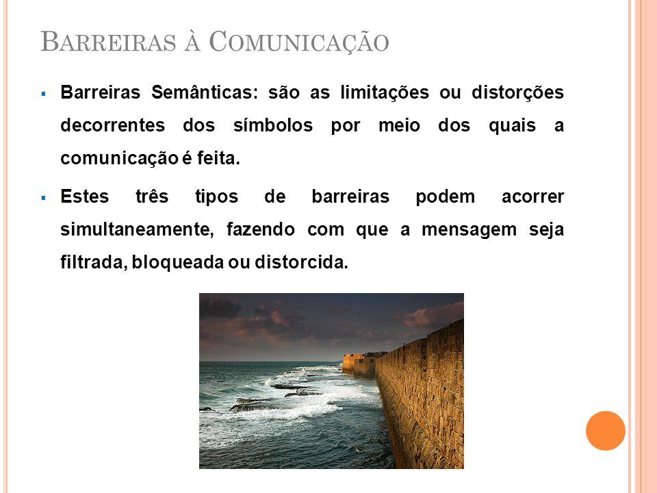 B ARREIRAS À C OMUNICAÇÃO  Barreiras Semânticas: são as limitações ou distorções decorrentes dos símbolos por meio dos quais a comunicação é feita. 