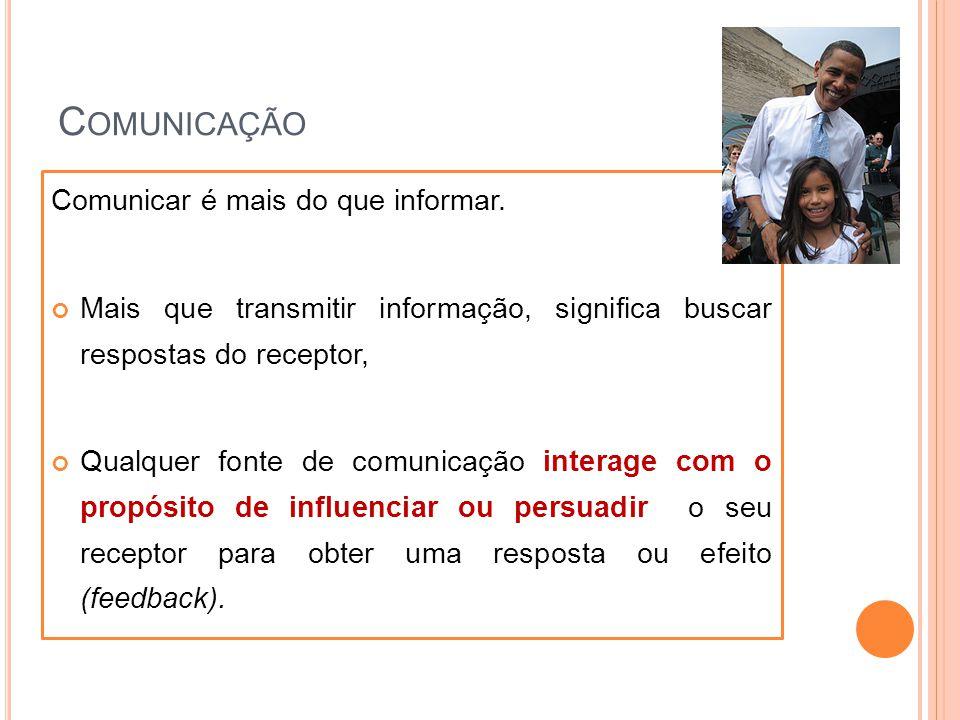 C OMUNICAÇÃO Comunicar é mais do que informar. Mais que transmitir informação, significa buscar respostas do receptor, Qualquer fonte de comunicação i