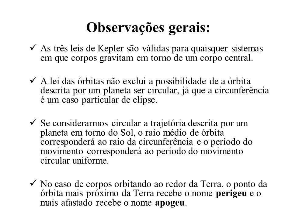 Observações gerais: As três leis de Kepler são válidas para quaisquer sistemas em que corpos gravitam em torno de um corpo central. A lei das órbitas