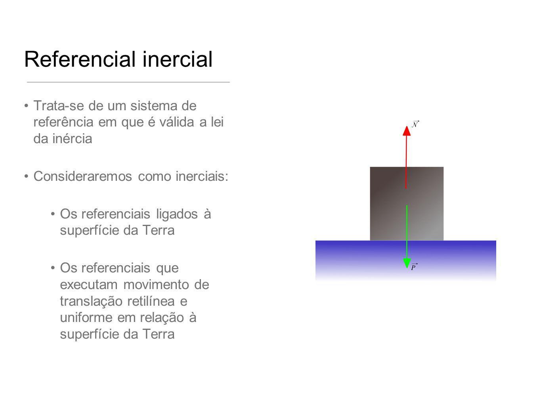 Referencial inercial Trata-se de um sistema de referência em que é válida a lei da inércia Consideraremos como inerciais: Os referenciais ligados à su