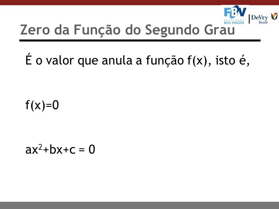 Zero da Função do Segundo Grau É o valor que anula a função f(x), isto é, f(x)=0 ax 2 +bx+c = 0