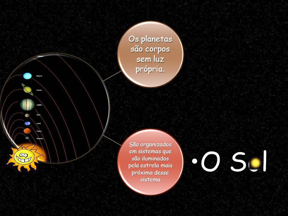 Os planetas são corpos sem luz própria. São organizados em sistemas que são iluminados pela estrela mais próxima desse sistema O SolO Sol