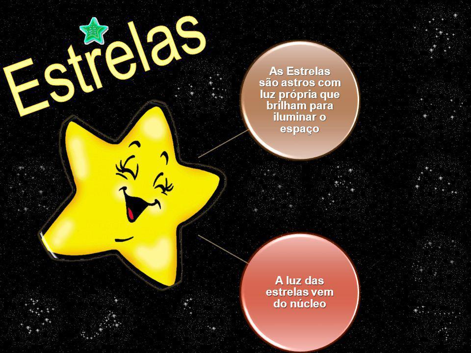 As Estrelas são astros com luz própria que brilham para iluminar o espaço A luz das estrelas vem do núcleo