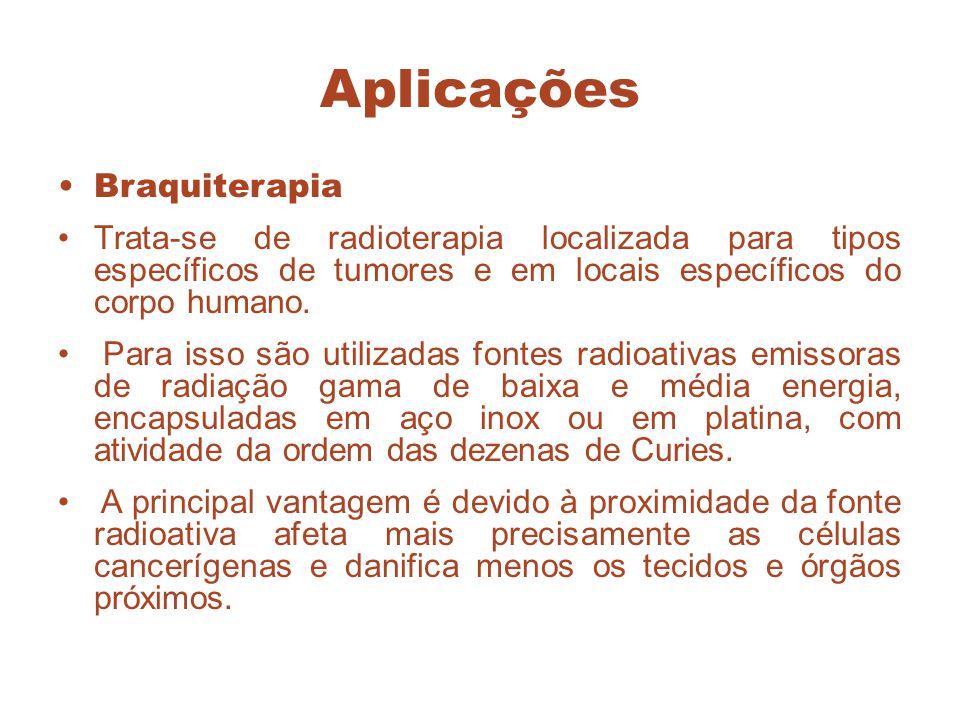 Aplicações Braquiterapia Trata-se de radioterapia localizada para tipos específicos de tumores e em locais específicos do corpo humano. Para isso são