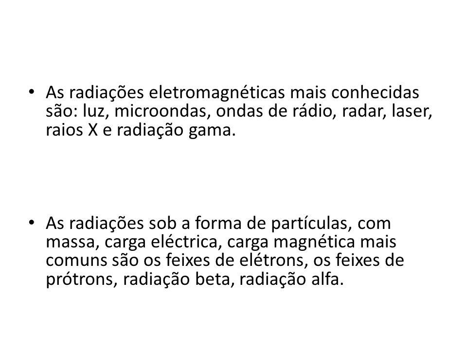 As radiações eletromagnéticas mais conhecidas são: luz, microondas, ondas de rádio, radar, laser, raios X e radiação gama. As radiações sob a forma de