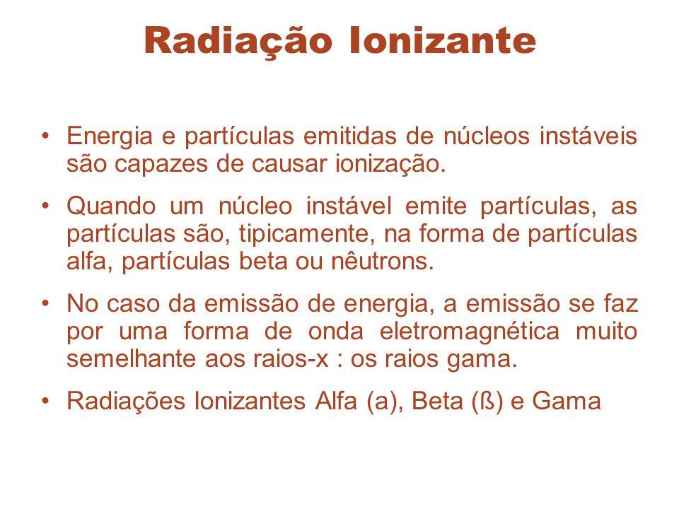 Radiação Ionizante Energia e partículas emitidas de núcleos instáveis são capazes de causar ionização. Quando um núcleo instável emite partículas, as