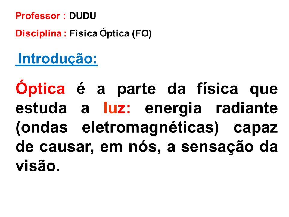 Introdução: Professor : DUDU Disciplina : Física Óptica (FO) Óptica é a parte da física que estuda a luz: energia radiante (ondas eletromagnéticas) ca