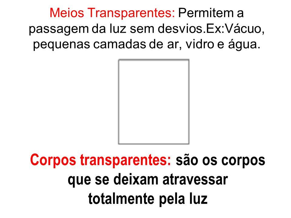 Meios Transparentes: Permitem a passagem da luz sem desvios.Ex:Vácuo, pequenas camadas de ar, vidro e água. Corpos transparentes: são os corpos que se