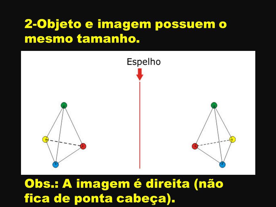 A B C A' B ' C' 2-Objeto e imagem possuem o mesmo tamanho. Obs.: A imagem é direita (não fica de ponta cabeça).