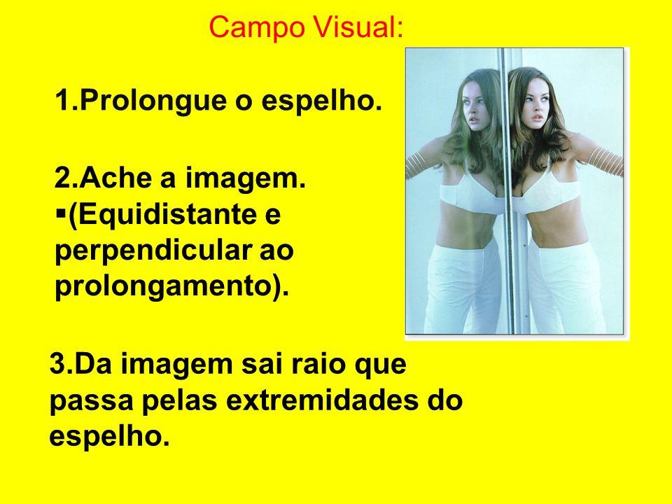 1.Prolongue o espelho. 2.Ache a imagem.  (Equidistante e perpendicular ao prolongamento). 3.Da imagem sai raio que passa pelas extremidades do espelh