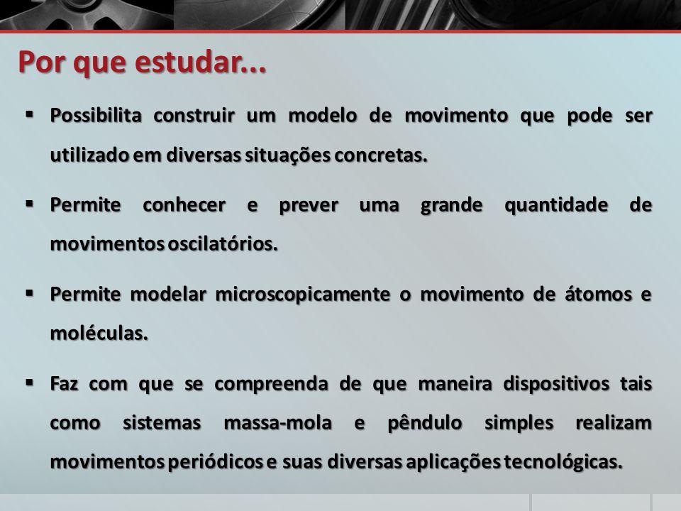 Por que estudar...  Possibilita construir um modelo de movimento que pode ser utilizado em diversas situações concretas.  Permite conhecer e prever