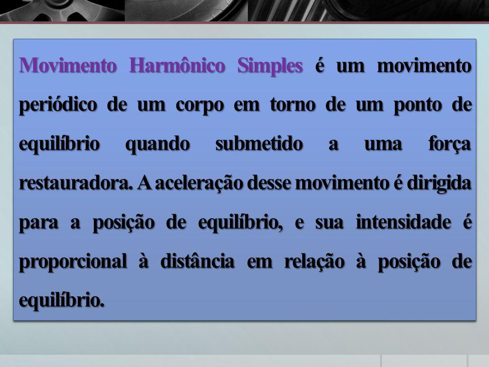 Movimento Harmônico Simples é um movimento periódico de um corpo em torno de um ponto de equilíbrio quando submetido a uma força restauradora. A acele