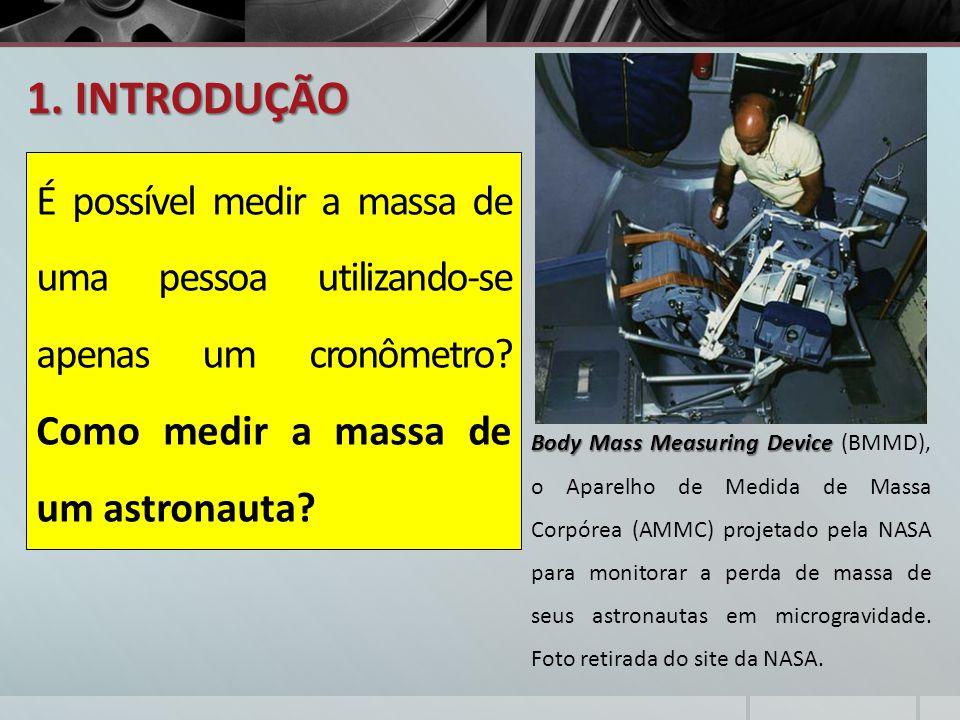 1. INTRODUÇÃO É possível medir a massa de uma pessoa utilizando-se apenas um cronômetro? Como medir a massa de um astronauta? Body Mass Measuring Devi