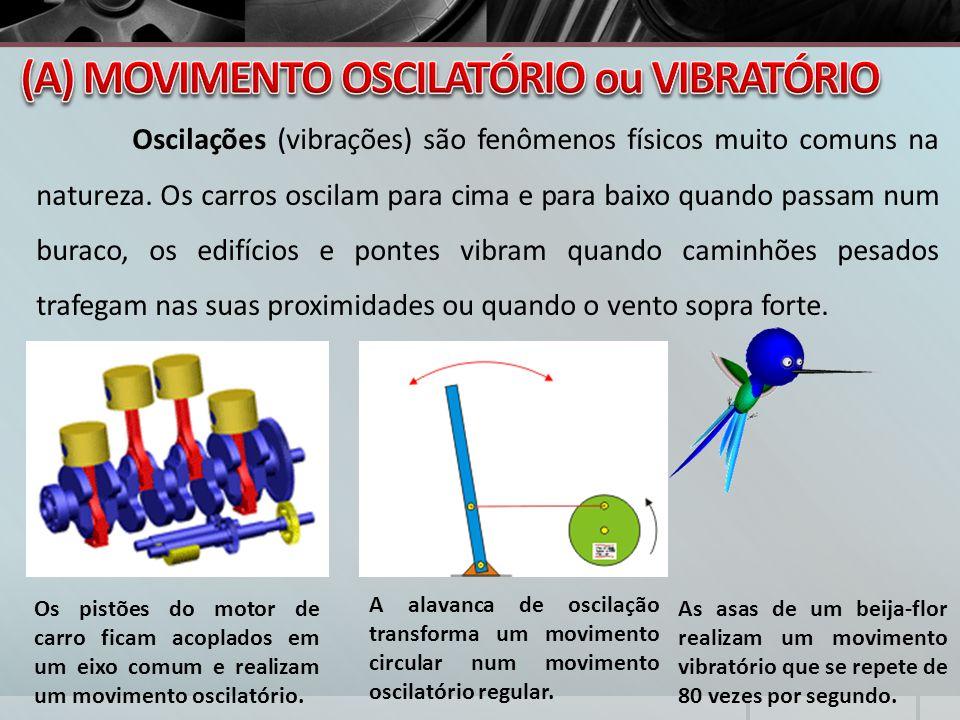 Oscilações (vibrações) são fenômenos físicos muito comuns na natureza. Os carros oscilam para cima e para baixo quando passam num buraco, os edifícios