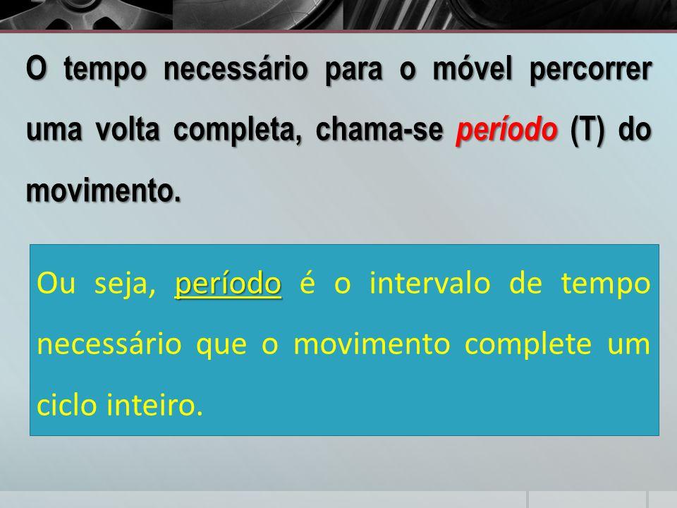 O tempo necessário para o móvel percorrer uma volta completa, chama-se período (T) do movimento. período Ou seja, período é o intervalo de tempo neces
