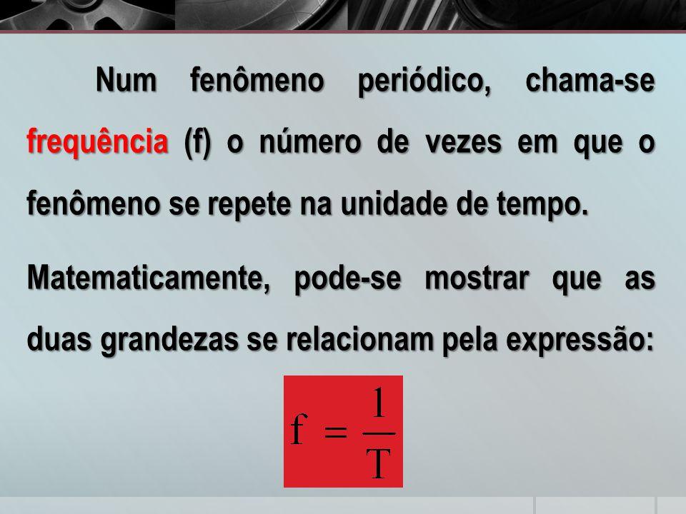 Num fenômeno periódico, chama-se frequência (f) o número de vezes em que o fenômeno se repete na unidade de tempo. Matematicamente, pode-se mostrar qu