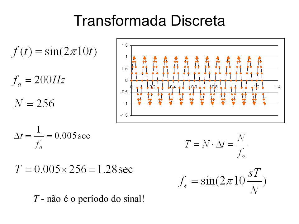 Transformada Discreta T - não é o período do sinal!