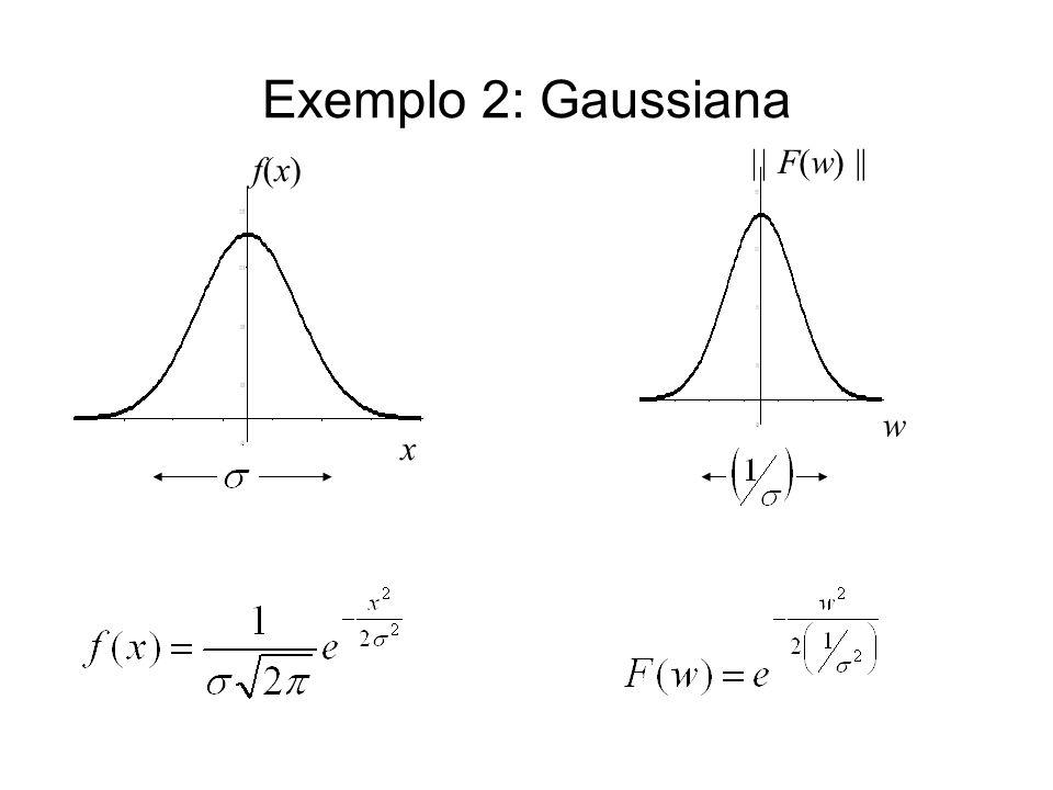 Exemplo 2: Gaussiana f(x) x    F(w)    w