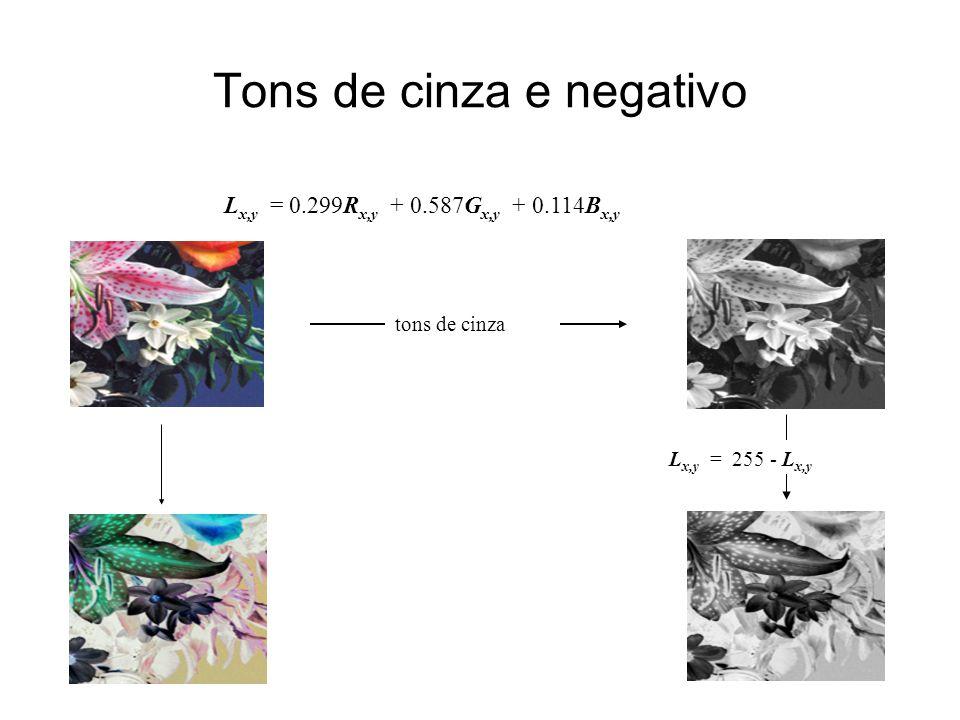 Tons de cinza e negativo L x,y = 0.299R x,y + 0.587G x,y + 0.114B x,y tons de cinza L x,y = 255 - L x,y