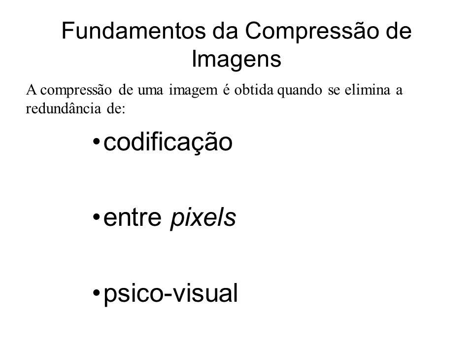 Fundamentos da Compressão de Imagens codificação entre pixels psico-visual A compressão de uma imagem é obtida quando se elimina a redundância de: