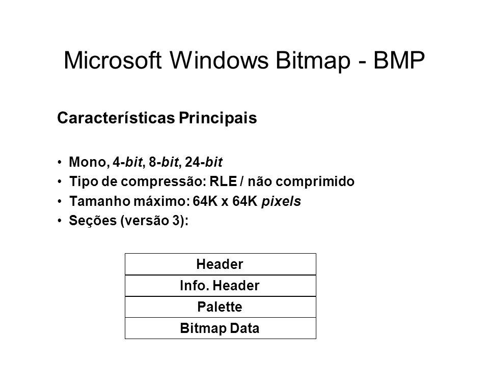Microsoft Windows Bitmap - BMP Características Principais Mono, 4-bit, 8-bit, 24-bit Tipo de compressão: RLE / não comprimido Tamanho máximo: 64K x 64K pixels Seções (versão 3): Header Info.