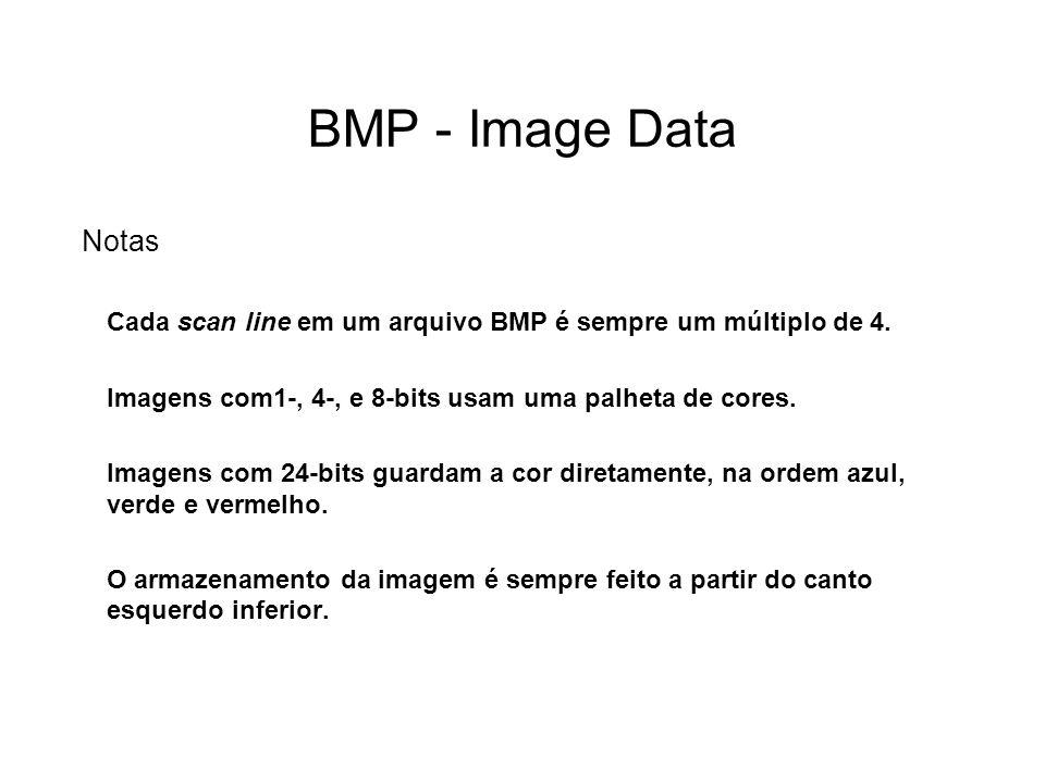 BMP - Image Data Notas Cada scan line em um arquivo BMP é sempre um múltiplo de 4.