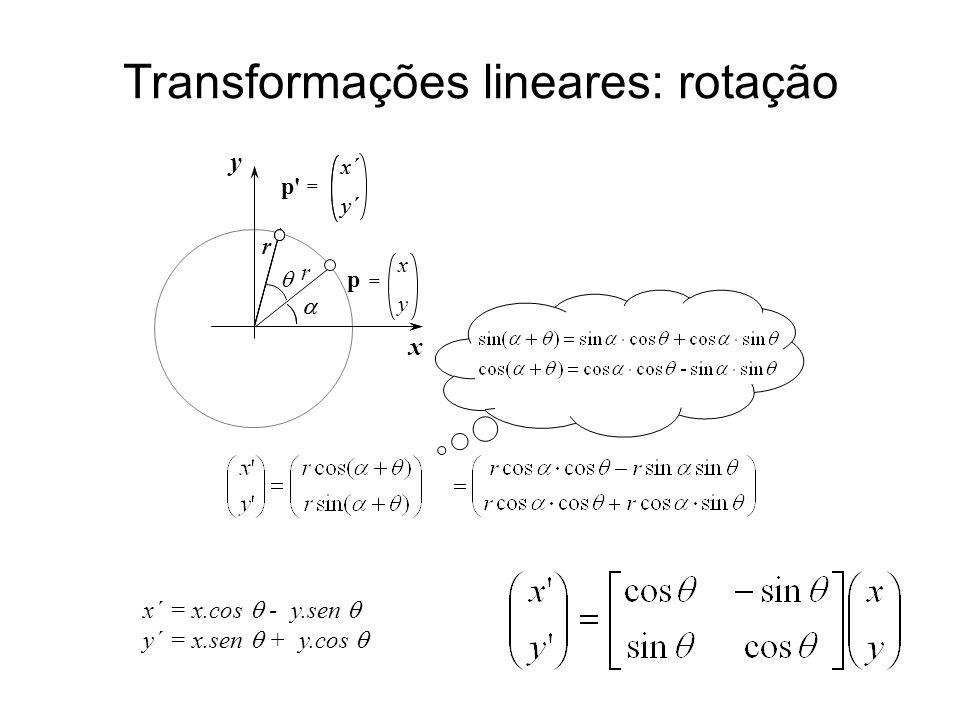 Transformações lineares: rotação x´ y´ p = x´ y´  r x´ = x.cos  - y.sen  y´ = x.sen  + y.cos  x y p = x y   r rr