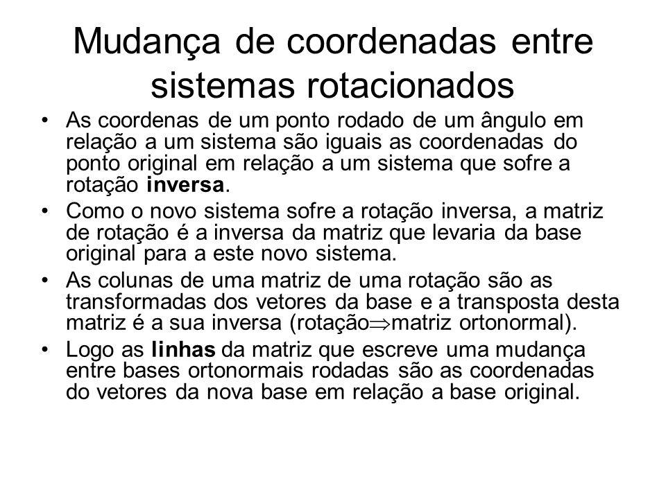 Mudança de coordenadas entre sistemas rotacionados As coordenas de um ponto rodado de um ângulo em relação a um sistema são iguais as coordenadas do ponto original em relação a um sistema que sofre a rotação inversa.
